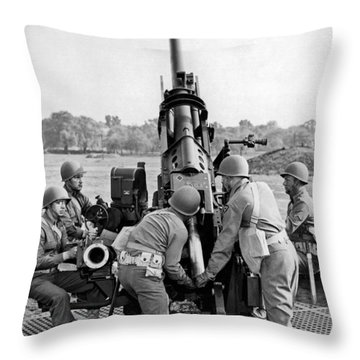 Troops At Artillery Training Throw Pillow