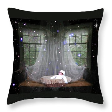 Unto Us A Child Is Born Throw Pillow by Paula Ayers
