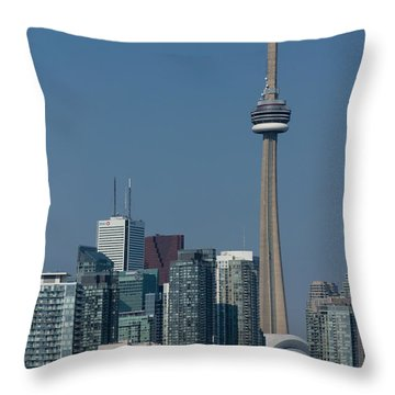 Up Close And Personal - Cn Tower Toronto Harbor And Skyline From A Boat Throw Pillow