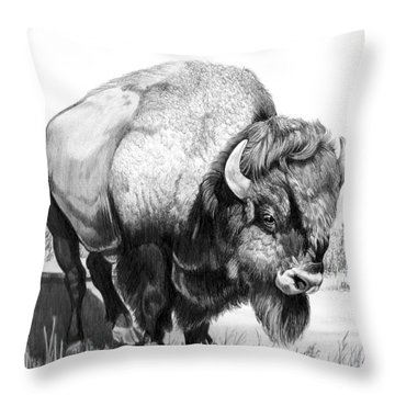 Up Close And Personal With Bison Throw Pillow by Cheryl Poland