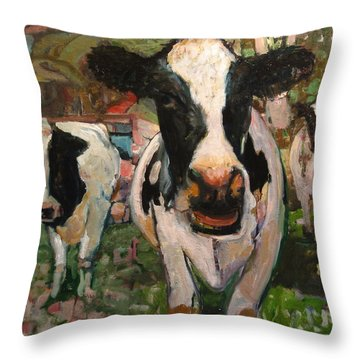Up Front Cows Throw Pillow