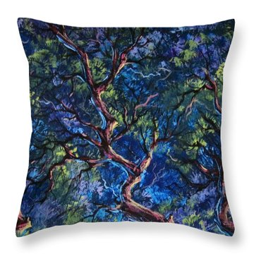 Throw Pillow featuring the painting Up In The Tree Tops by Megan Walsh