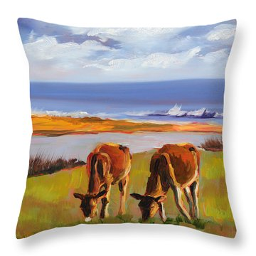 Up Island Happy Cows Throw Pillow by Trina Teele