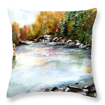 Throw Pillow featuring the painting Up Stream by Marti Green