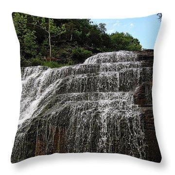 Up The Falls Throw Pillow