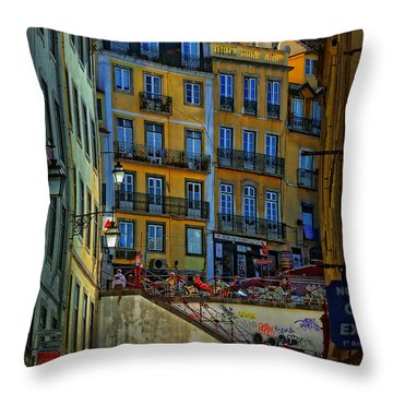 Up The Stairs - Lisbon Throw Pillow by Mary Machare