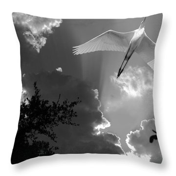 Up Up And Away Bw Throw Pillow