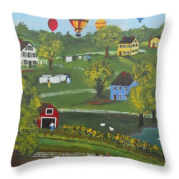 Throw Pillow featuring the painting Up Up And Away by Virginia Coyle