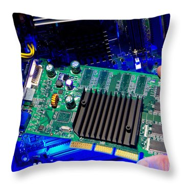 Upgrade Throw Pillow by Olivier Le Queinec