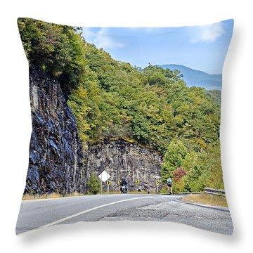 Uphill Downhill Throw Pillow by Susan Leggett