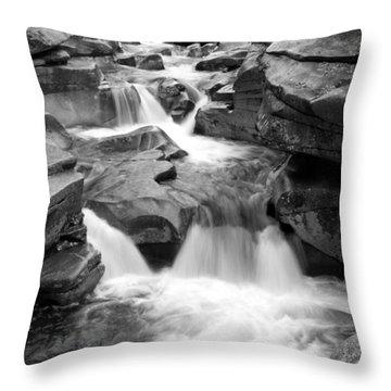Upper Ammonoosuc Falls Black And White Throw Pillow by Brett Pelletier