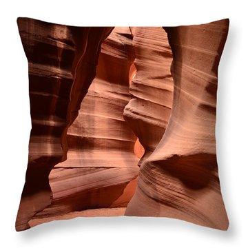 Upper Antelope Canyon In Arizona Throw Pillow by DejaVu Designs