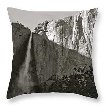 Upper Yosemite Falls Composition In Triangles Throw Pillow