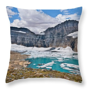Upper Grinnell Lake And Glacier Throw Pillow