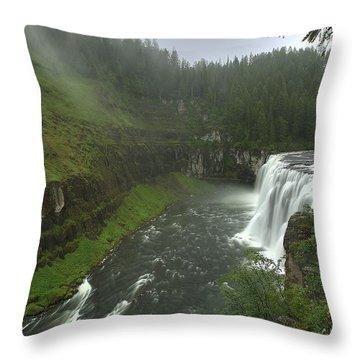 Upper Messa Falls Throw Pillow