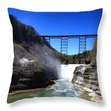 Upper Waterfalls In Letchworth State Park Throw Pillow by Paul Ge