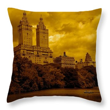 Upper West Side And Central Park Throw Pillow by Monique Wegmueller
