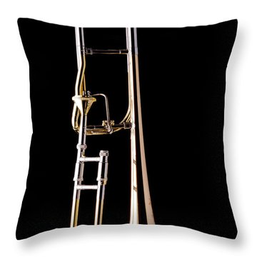 Upright Rotor Tenor Trombone On Black In Color 3465.02 Throw Pillow