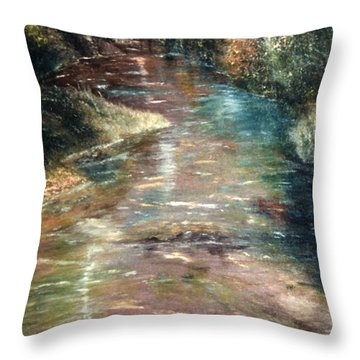 Throw Pillow featuring the painting Upstream by Karen Zuk Rosenblatt