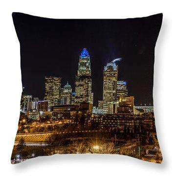Uptown Charlotte Panorama Throw Pillow by Randy Scherkenbach