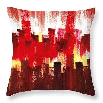 Throw Pillow featuring the painting Urban Abstract Evening Lights by Irina Sztukowski