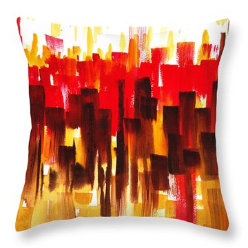 Throw Pillow featuring the painting Urban Abstract Glowing City by Irina Sztukowski