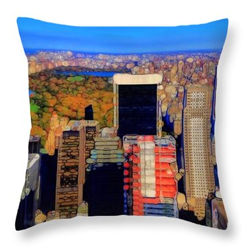 Urban Abstract New York City Skyline And Central Park Throw Pillow by Dan Sproul