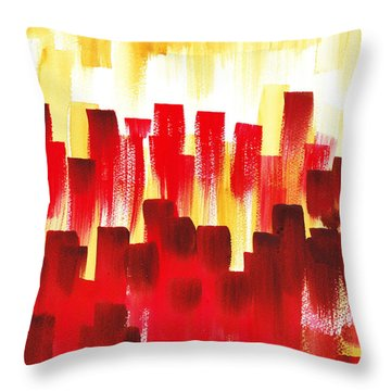 Throw Pillow featuring the painting Urban Abstract Red City Lights by Irina Sztukowski