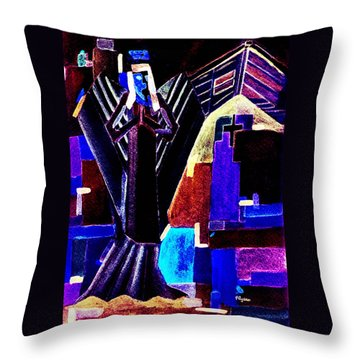 Throw Pillow featuring the painting Urban Angel Of Dark by Paula Ayers