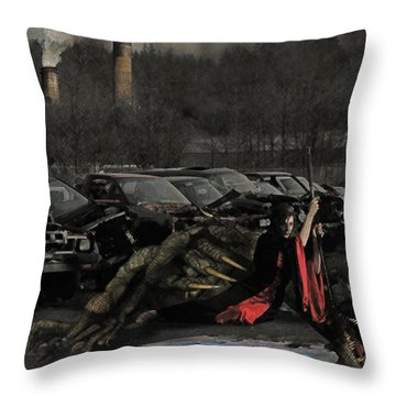 Throw Pillow featuring the digital art Urban Dragon Slayer by Galen Valle