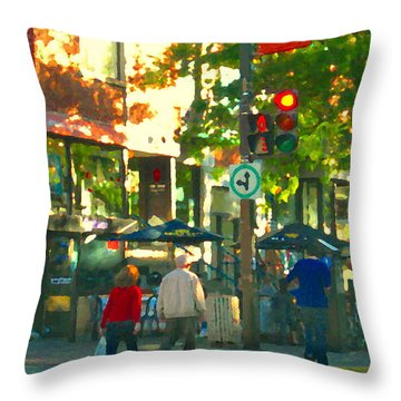 Urban Explorers Couple Walking Downtown Streets Of Montreal Summer Scenes Carole Spandau Throw Pillow by Carole Spandau