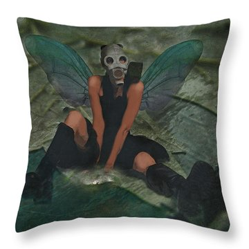 Throw Pillow featuring the digital art Urban Fairy by Galen Valle