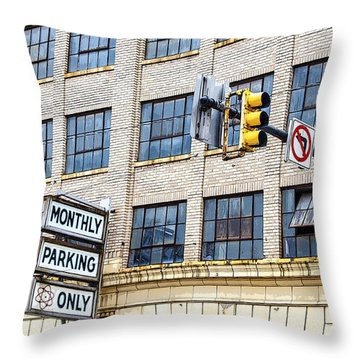 Urban Garage Monthly Parking Only Throw Pillow by Janice Rae Pariza