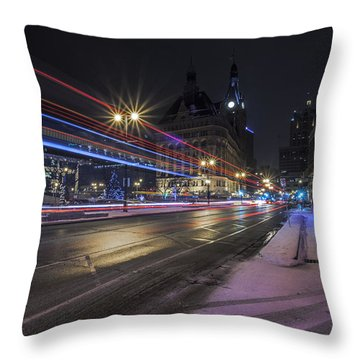 Urban Holiday  Throw Pillow by CJ Schmit