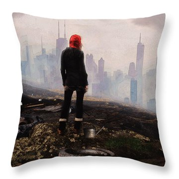 Throw Pillow featuring the digital art Urban Human by Galen Valle