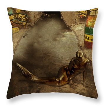 Throw Pillow featuring the digital art Urban Mermaid by Galen Valle