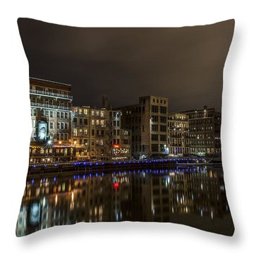 Urban River Reflected Throw Pillow