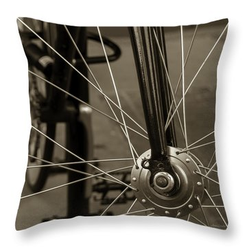 Throw Pillow featuring the photograph Urban Spokes In Sepia by Steven Milner