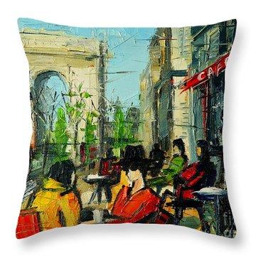 Urban Story - Champs Elysees Throw Pillow by Mona Edulesco