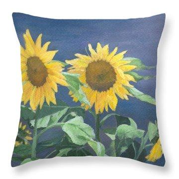 Urban Sunflowers Original Colorful Painting Sunflower Art Decor Sun Flower Artist K Joann Russell    Throw Pillow