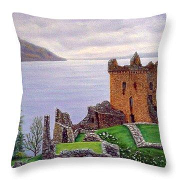 Urquhart Castle Loch Ness Scotland Throw Pillow