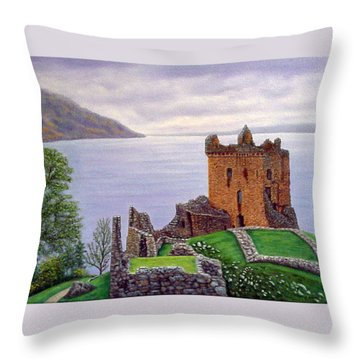 Urquhart Castle Loch Ness Scotland Throw Pillow