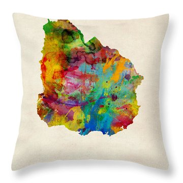 Uruguay Watercolor Map Throw Pillow