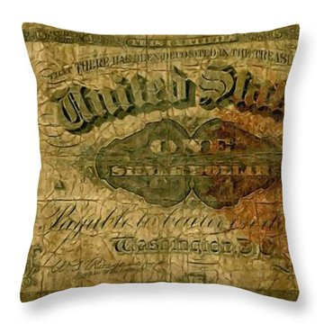 U.s. 1886 One Dollar Silver Certificate  Throw Pillow by Lanjee Chee