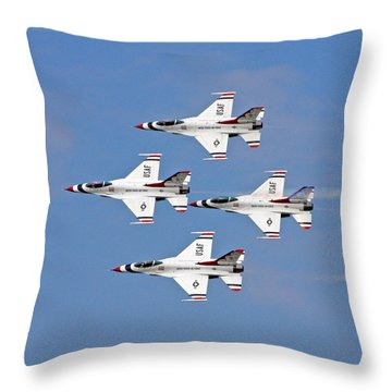 Throw Pillow featuring the photograph Us Air Force Thunderbirds by John Freidenberg