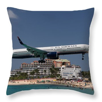 U S Airways At St Maarten Throw Pillow by David Gleeson