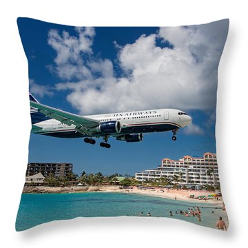 U S Airways Landing At St. Maarten Throw Pillow by David Gleeson