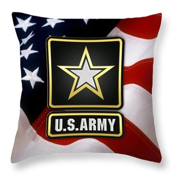 U. S. Army Logo Over American Flag. Throw Pillow
