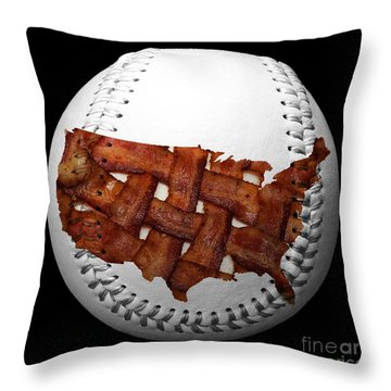Us Bacon Weave Map Baseball Square Throw Pillow by Andee Design