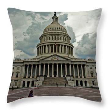 Throw Pillow featuring the photograph U.s. Capitol Building by Suzanne Stout